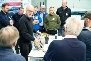 Andy Latham Salvage Wire demonstrates best practice in safe handling of hybrid and electric cars to Electric ELVES programme attendees at CIT