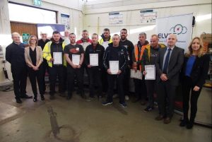 Attendees receive Electric ELVES certificates in safe handling of hybrid and electric cars at Plunket College Dublin
