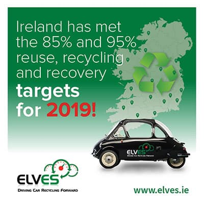 Ireland meets the three 'R' targets for end-of-life vehicles for second year running p