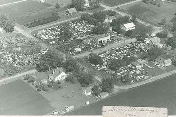Aerial view of South Side Salvage, 1960 re